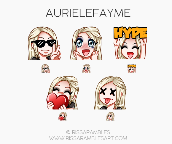Twitch Emotes for Aurielefayme | Twitch TV Emotes | New Twitch Emotes