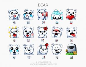 Bear Emotes | Custom Twitch Emotes | Emote Commissions | Mixer Emotes | YouTube Emojis