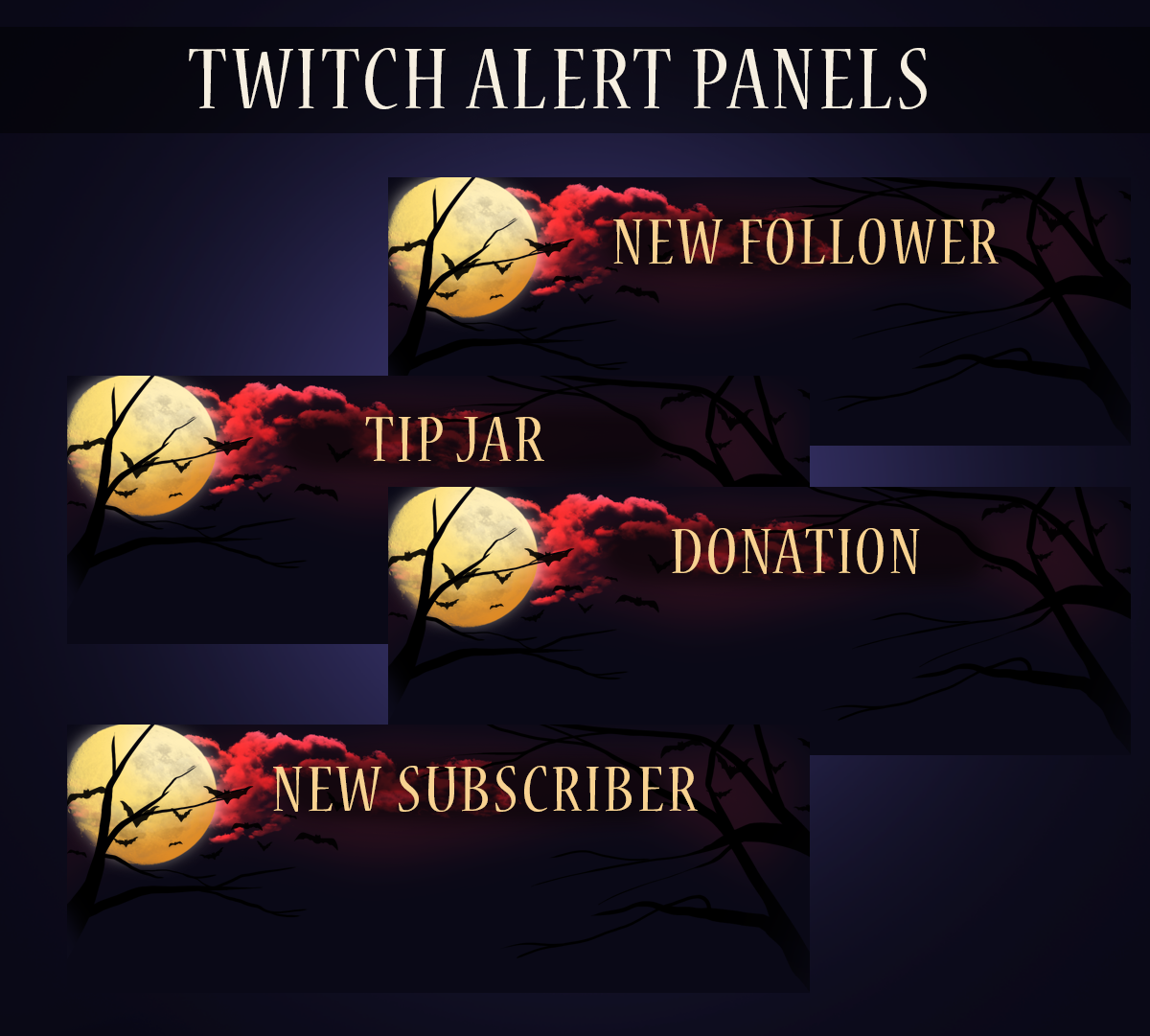 Moonlit Halloween - Twitch Overlay Set