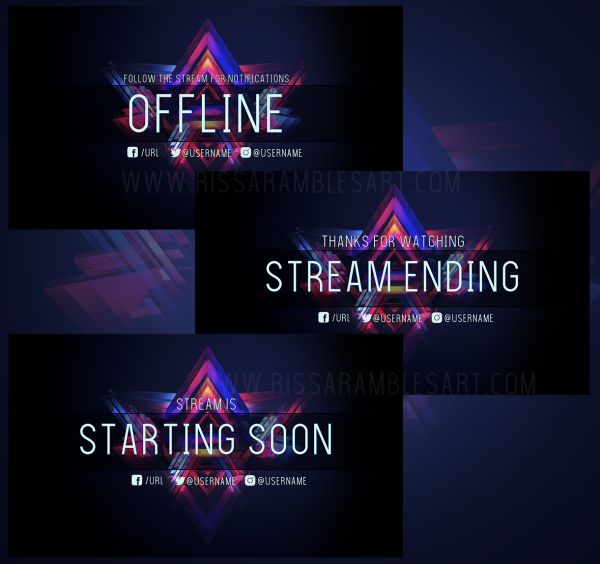 Rainbow Abstract Twitch Screens | Offline Screen, Starting Soon Screen, Stream Ending