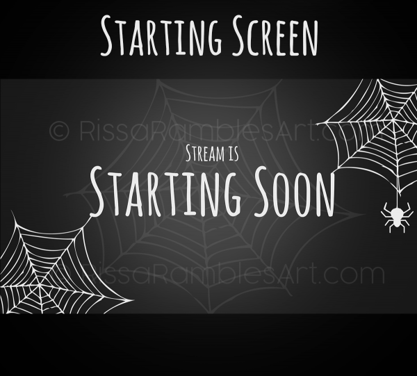 Halloween Stream Starting Soon Screen | Halloween Twitch Graphics | RissaRamblesArt.com