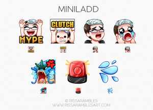 Miniladd Twitch Emotes | MiniLadd YouTube | Custom Youtube Membership Emojis | Custom Twitch Emotes by RissaRambles | Top Twitch Emote Artists | Twitch Emote Portfolio