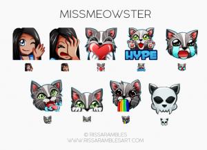 Cat Emotes | Custom Twitch Emotes | Emote Commissions | Mixer Emotes | YouTube Emojis | Kitty Emotes | MissMeowster Emotes