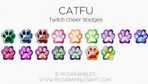 CATFU Twitch Badges | CATFU Twitch Emotes | Custom Twitch Emotes by RissaRambles | Top Twitch Emote Artists | Twitch Emote Portfolio