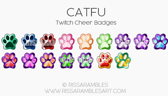CATFU Twitch Badges | CATFU Twitch Emotes | Custom Twitch Emotes by RissaRambles | Top Twitch Emote Artists | Twitch Emote Portfolio