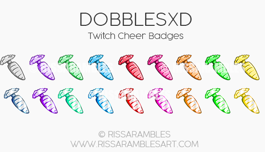 DobblesXD Cheer Badges Custom Twitch Emotes by RissaRambles | Top Twitch Emote Artists | Twitch Emote Portfolio