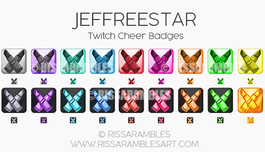 Jeffree Star Twitch Cheer Badges | Custom Twitch Emotes by RissaRambles | Top Twitch Emote Artists | Twitch Emote Portfolio