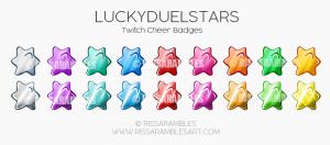 LuckyDuelStars | Twitch Bit Badges | Cheer Badges | Custom Twitch Emotes by RissaRambles | Top Twitch Emote Artists | Twitch Emote Portfolio