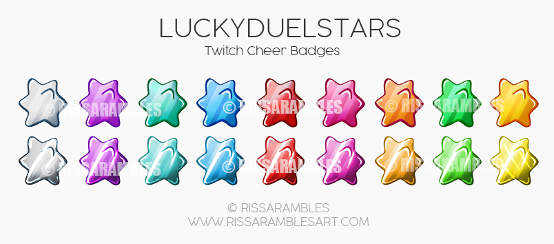 LuckyDuelStars | Twitch Bit Badges | Cheer Badges | Custom Twitch Emotes by RissaRambles | Top Twitch Emote Artists | Twitch Emote Portfolio
