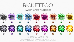 Rickettoo Twitch Cheer Badges | Twitch Bit Badges | Custom Twitch Emotes by RissaRambles | Top Twitch Emote Artists | Twitch Emote Portfolio