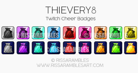 Thievery8 Cheer Badges | Twitch Bit Badges | Custom Twitch Emotes by RissaRambles | Top Twitch Emote Artists | Twitch Emote Portfolio