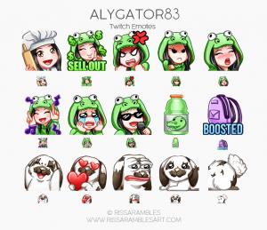 Alygator83 Twitch Emotes | Custom Twitch Emotes by RissaRambles Custom Twitch Emotes by RissaRambles | Top Twitch Emote Artists | Twitch Emote Portfolio