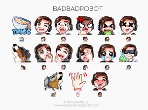 BadBadRobot Twitch Emotes | Custom Twitch Emotes by RissaRambles Custom Twitch Emotes by RissaRambles | Top Twitch Emote Artists | Twitch Emote Portfolio