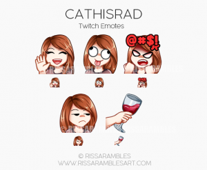 CathIsRad Twitch Emotes | Custom Twitch Emotes by RissaRambles | Top Twitch Emote Artists | Twitch Emote Portfolio