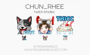 Chun_Rhee Twitch Emotes   Custom Twitch Emotes by RissaRambles