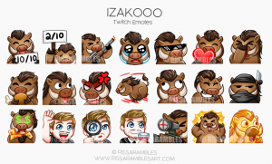 Izakooo Twitch Emotes | Custom Twitch Emotes by RissaRambles