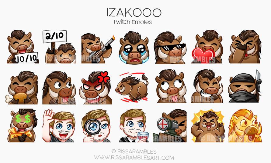 Izakooo Twitch Emotes | Custom Twitch Emotes by RissaRambles