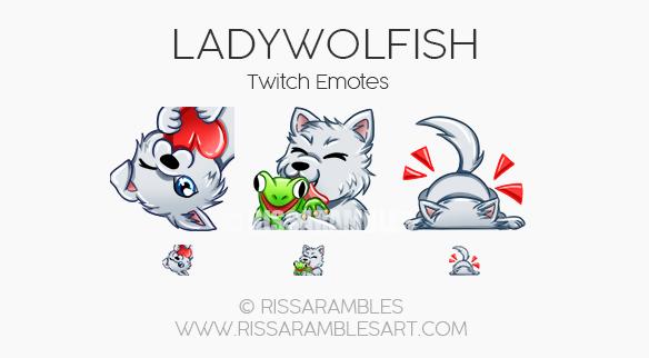LadyWolfish Twitch Emotes | Custom Twitch Emotes by RissaRambles