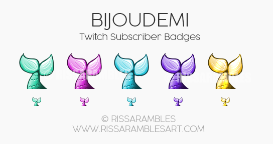 Bijoudemi Sub Badges | Twitch Sub Badges | Mermaid Badges | Custom Twitch Emotes | Top Twitch Emote Artists | RissaRambles