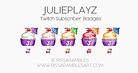 JuliePlayz Twitch Sub Badges |Custom Twitch Emotes by RissaRambles | Top Twitch Emote Artists | Twitch Emote Portfolio