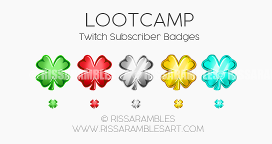 Lootcamp Twitch Sub Badges | Custom Twitch Emotes by RissaRambles | Top Twitch Emote Artists | Twitch Emote Portfolio