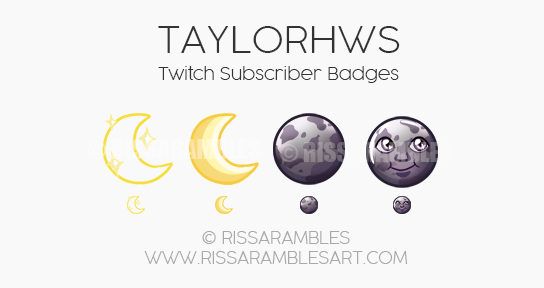 Sailor Moon Sub Badges | Moon Emoji | Custom Twitch Emotes by RissaRambles | Top Twitch Emote Artists | Twitch Emote Portfolio