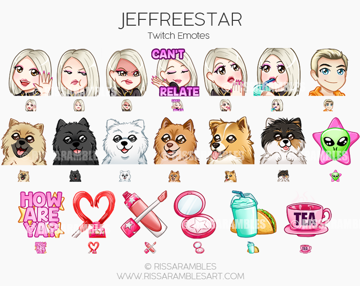 Jeffree Star Emotes | Jeffree Star Twitch | Jeffree Star Cosmetics | Conspiracy Palette | | Custom Twitch Emotes | Emote Commissions | Mixer Emotes | YouTube Emojis | Shane Dawson