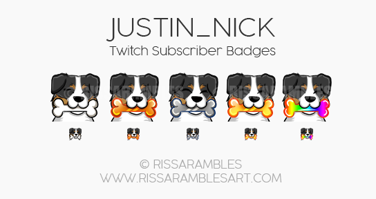 Justin_Nick Twitch Sub Badges | Dog Sub Badges | Custom Twitch Emotes by RissaRambles | Top Twitch Emote Artists | Twitch Emote Portfolio