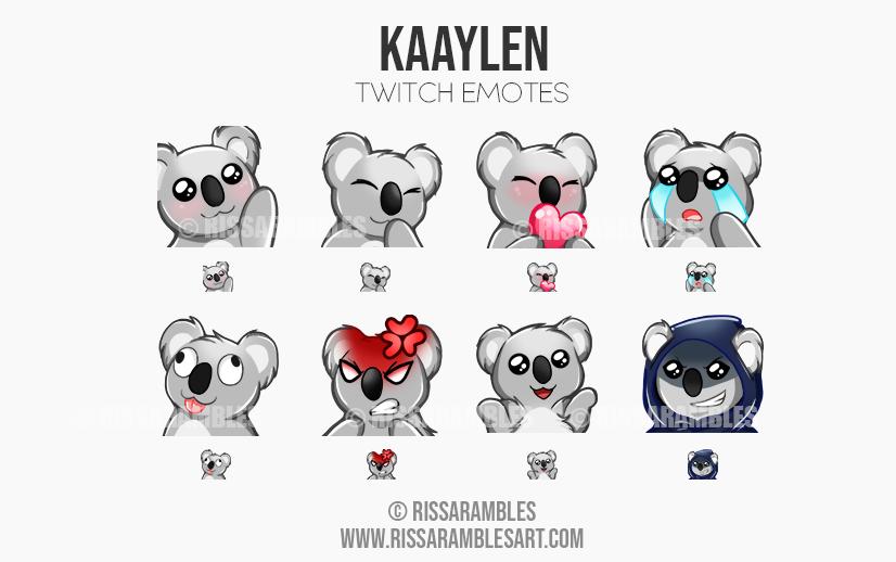 Kaaylen Emotes | Custom Twitch Emotes | Emote Commissions | Mixer Emotes | YouTube Emojis | Koala Bear Emotes