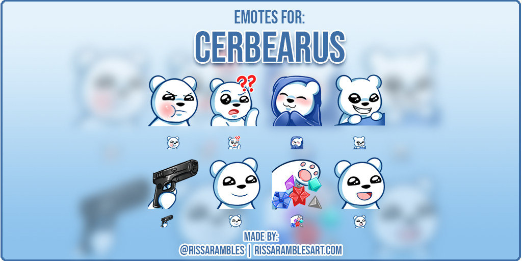 Twitch Emotes | Cerbearus | Polar Bear Emotes | Custom Twitch Emotes