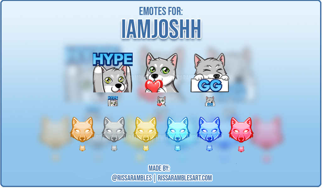 Custom Twitch Emotes | IAmJoshh | Wolf emotes