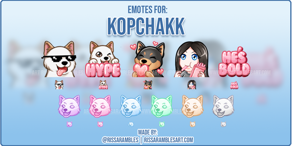 Twitch Emotes for Kopchakk | Custom Emotes | Twitch Emote Artist