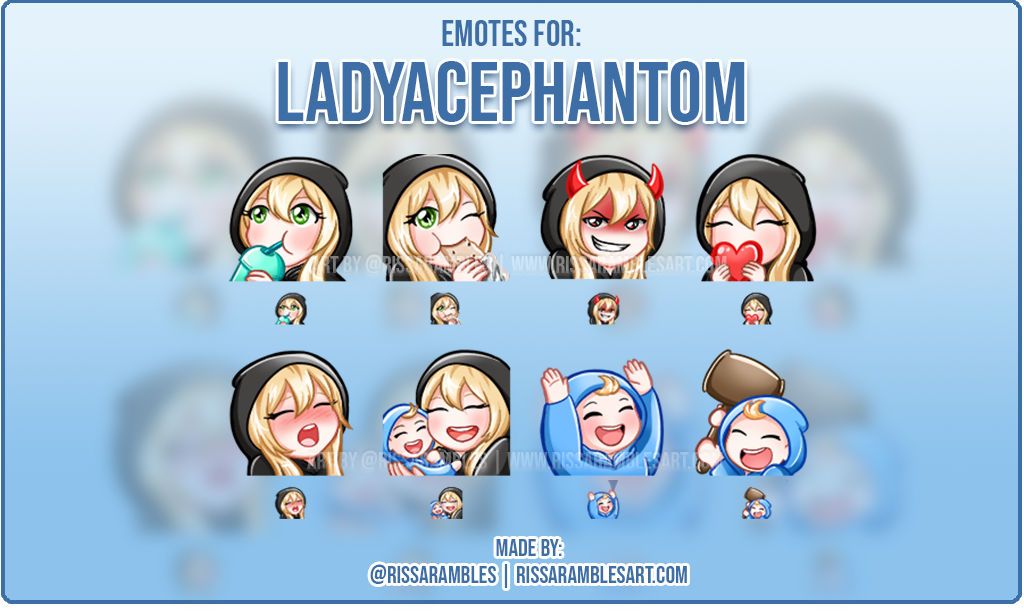 Twitch Emotes LadyAcePhantom | Custom Emotes | Twitch Emote Artist