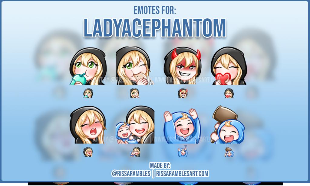 Twitch Emotes LadyAcePhantom | Custom Emotes | Twitch Emote Artist