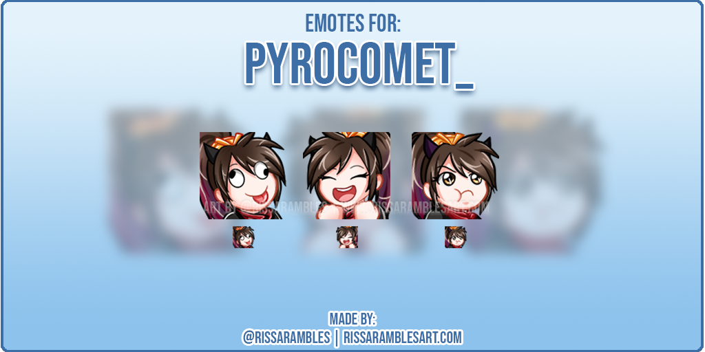 Pyrocomet_ Twitch Emotes | Anime Girl Emotes