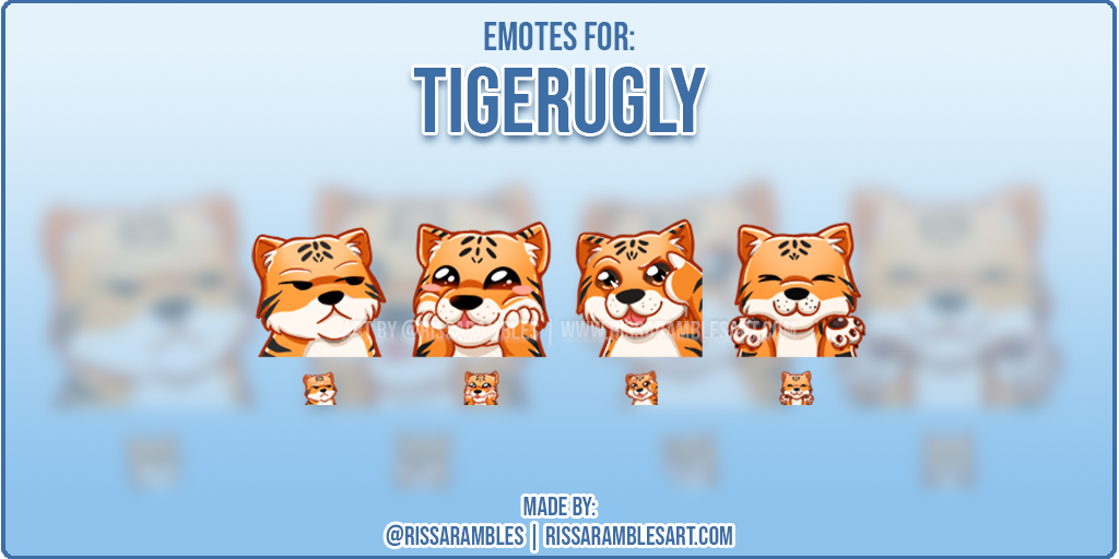 Twitch Emotes TigerUgly | Tiger Emotes | Custom Twitch Emotes