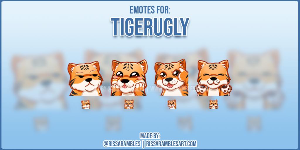 Twitch Emotes TigerUgly | Tiger Emotes | Custom Twitch Emotes