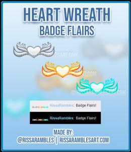 Heart Wreath | Twitch Badge Flairs | Custom Twitch Emotes | RissaRambles