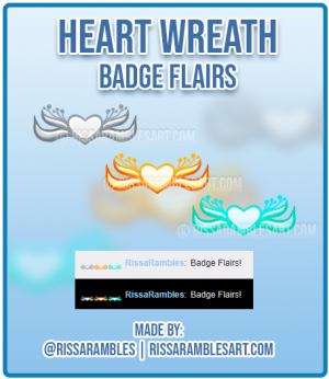 Heart Wreath | Twitch Badge Flairs | Custom Twitch Emotes | RissaRambles