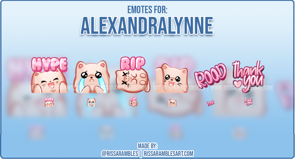 Custom Cat Emotes | Twitch Emotes | Pusheen | Alexandralynne | RissaRambles
