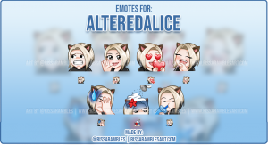 Custom Twitch Emotes for AlteredAlice | Twitch Emote artist | RissaRambles