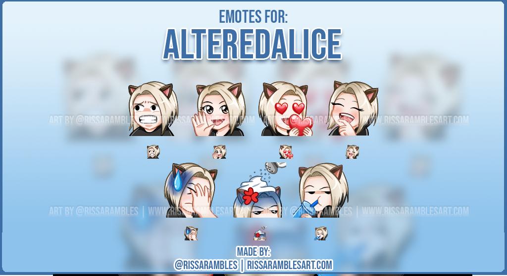 Custom Twitch Emotes for AlteredAlice | Twitch Emote artist | RissaRambles