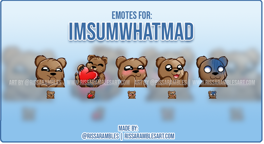 Custom Twitch Emotes | Bear Emotes | RissaRambles