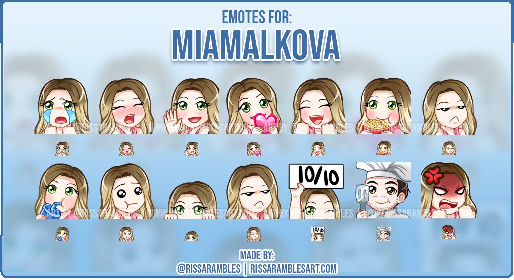 Mia Malkova Emotes | Custom Twitch Emotes | Twitch Emotes Artist - RissaRambles