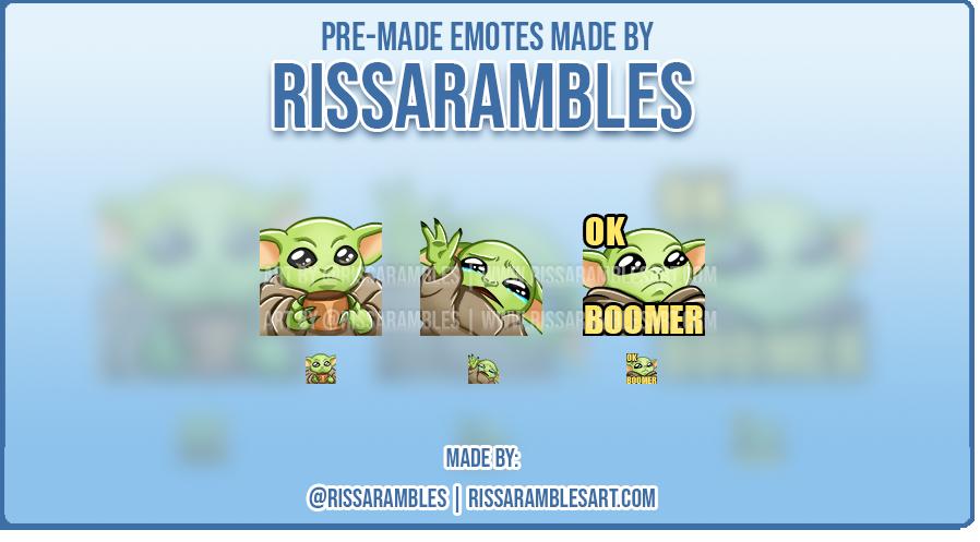 Custom Twitch Emotes   Star Wars   Baby Yoda Emotes   RissaRambles