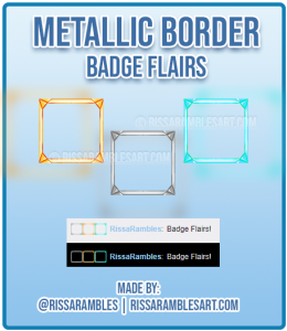 Metallic Border Twitch Badge Flairs | Custom Twitch Emotes | RissaRambles