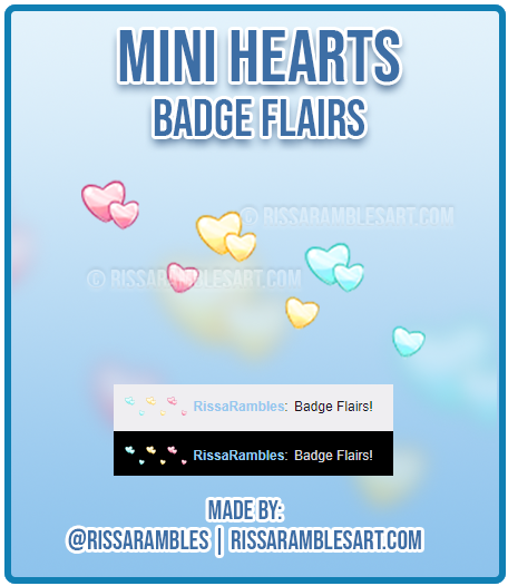 Mini Hearts Twitch Badge Flairs | Kawaii Badges | Custom Twitch Emotes | RissaRambles