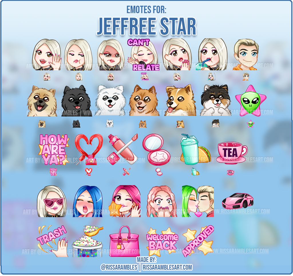 Jeffree Star Emotes | Custom Twitch Emotes | Jeffree Star & Shane Dawson | Jeffree Star Cosmetics