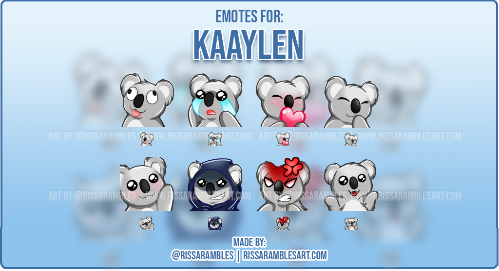Koala Bear Emotes | Custom Twitch Emotes | Twitch Emote Artist - RissaRambles