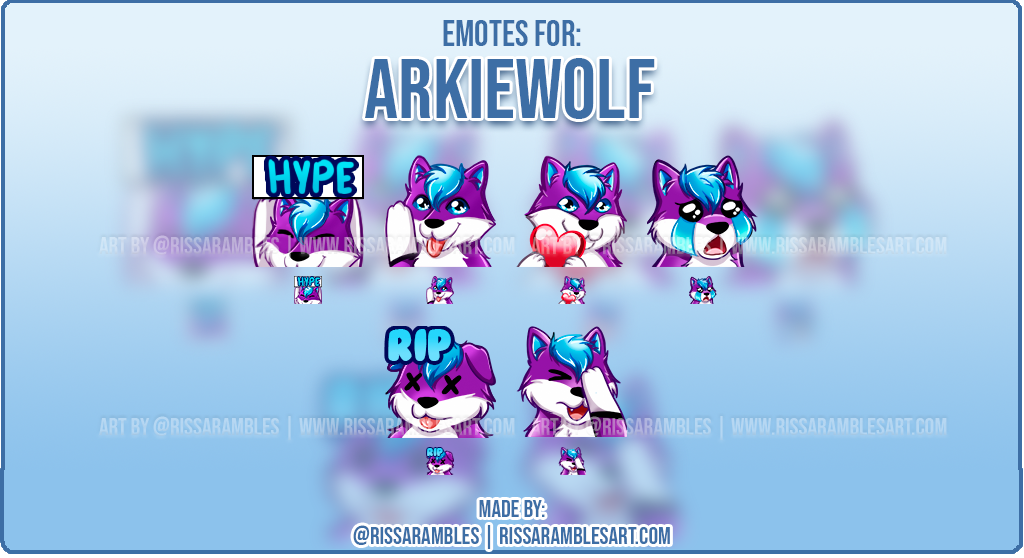 Wolf Emotes | Custom Twitch Emotes | Twitch Emote Artist - RissaRambles